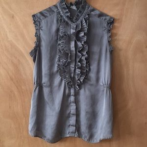 Button up sleeveless ruffle shirt